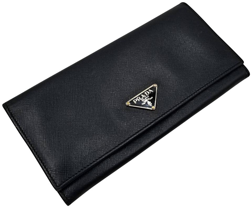 6221dded3a3782 Prada Authentic Classic Saffiano Triangle Logo Long Wallet Image 0 ...