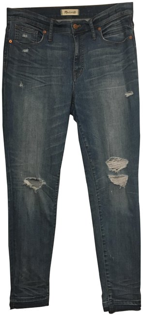 """Item - Blue Distressed 9"""" High-rise Skinny Jeans Size 31 (6, M)"""