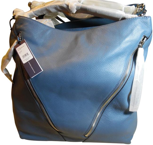 Item - Crossbody Moto Tote with Strap Azure Blue Leather Hobo Bag