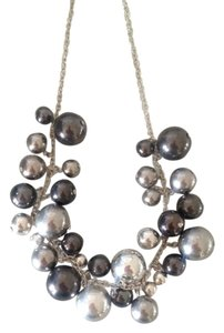 Silver Grey Pearl Bib Choker Statement Necklace