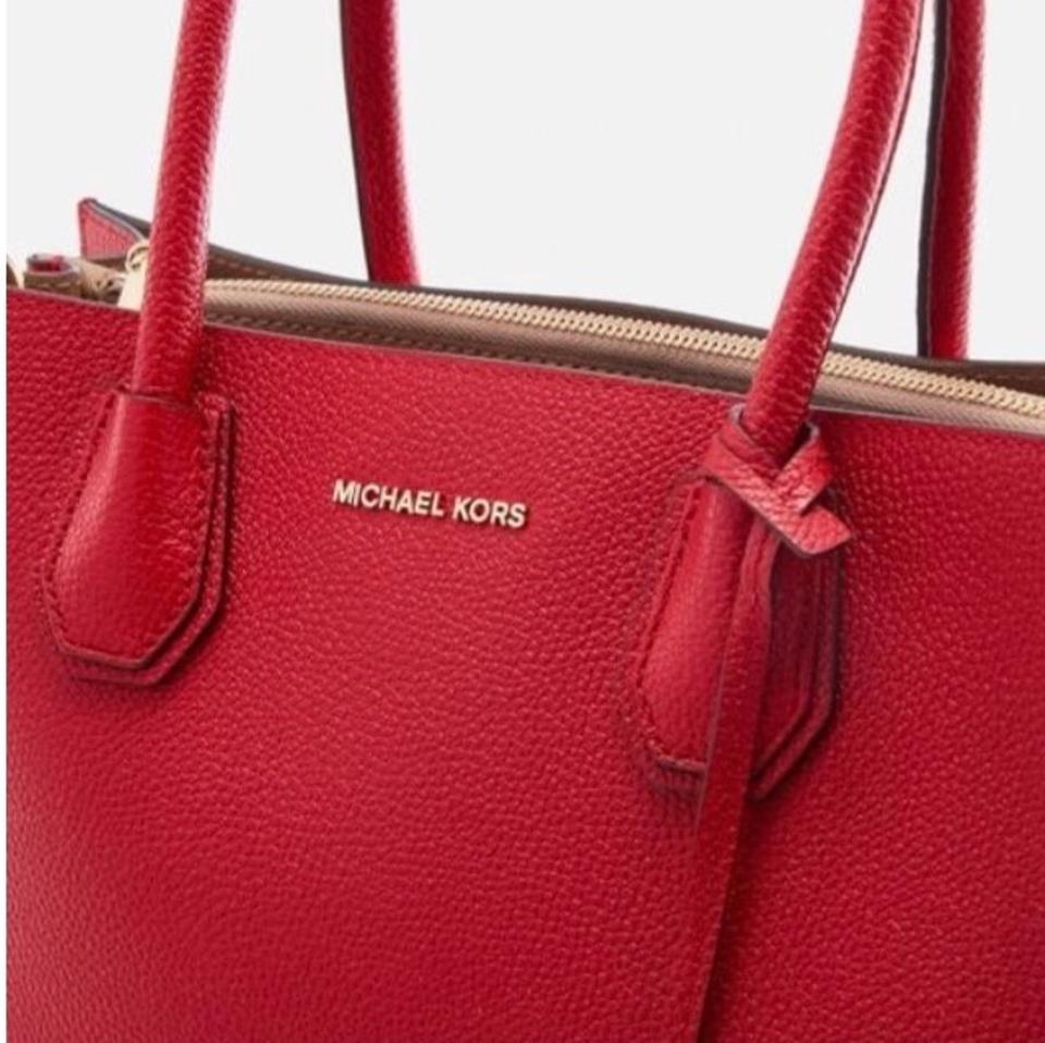 4b0afed5f79e Michael Kors Mercer Extra Large Bright Red Pebble Leather Tote - Tradesy