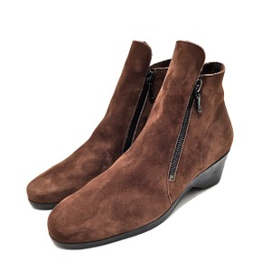 Arche Suede Ankle Zip Rubber Soles Rust Brown Boots