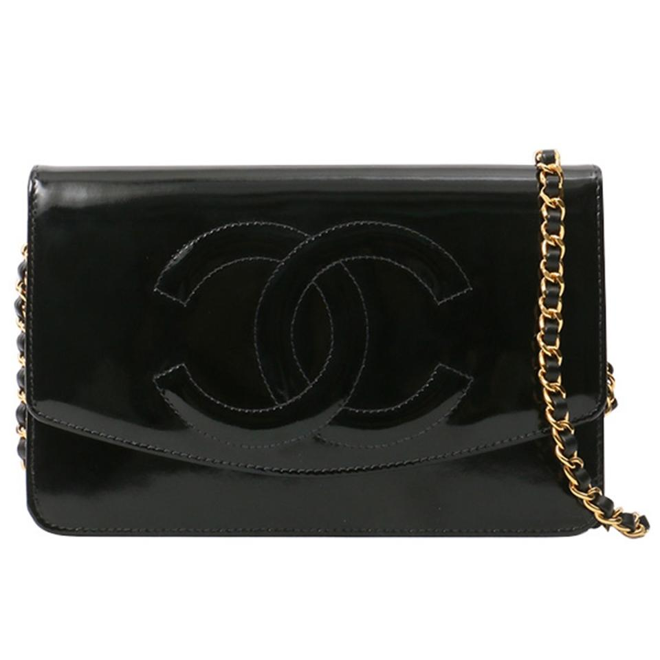 9e6b1f91190f Chanel Wallet on Chain Vintage Timeless Cc Woc Black Patent Leather ...