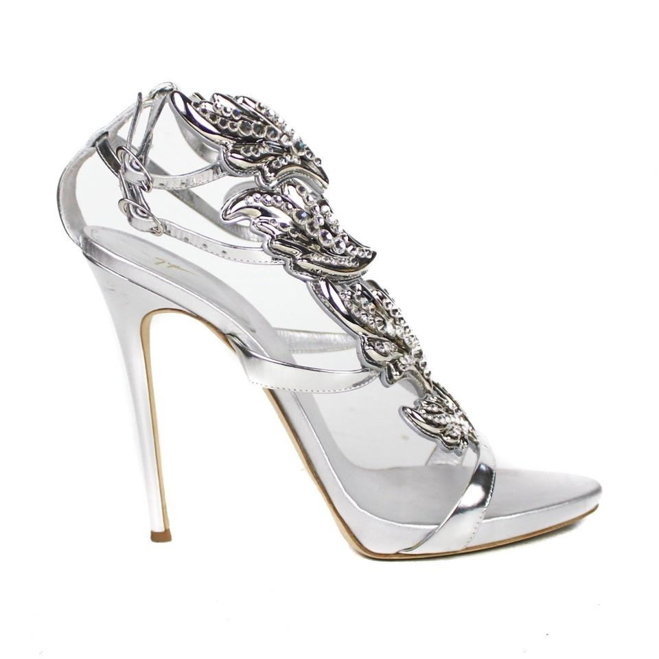 6597f83e1dc38 Giuseppe Zanotti Silver Crystal Wing High Heels Sandals Size US 11 ...
