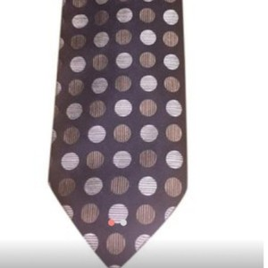 Balmain Vintage Couture Silk Brown and Beige Polka Dot Design Made In Usa Tie/Bowtie