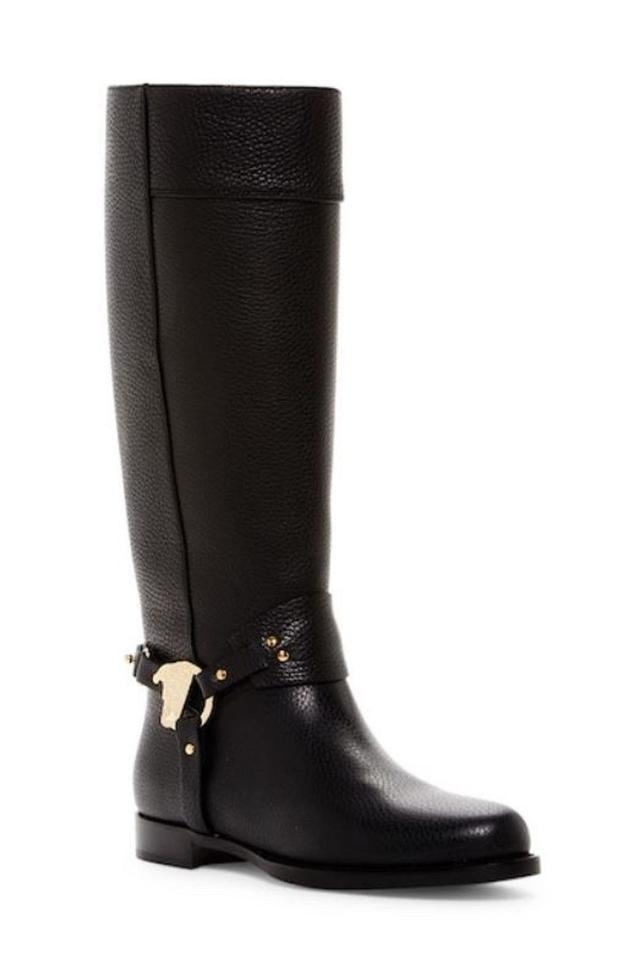 2660723c994 Versace Collection Medusa Head Riding Strapped Flat Black Boots Image 0 ...