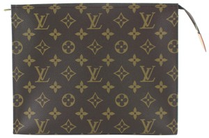 Louis Vuitton Pouch Cosmetic Make Up Poche Toiletry Brown Clutch