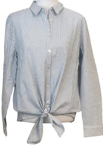 bc80c3e0744 Jane and Delancey Striped Preppy Button Down Shirt Blue and White