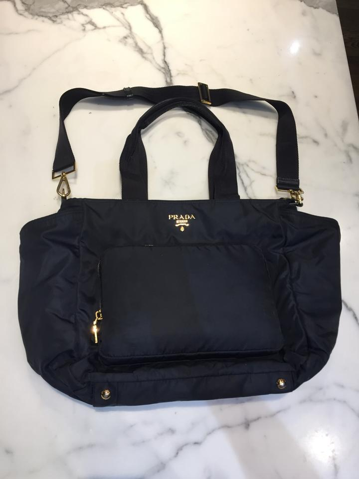 7d98536c3194 Prada Navy with Gold Hardware Nylon Diaper Bag - Tradesy