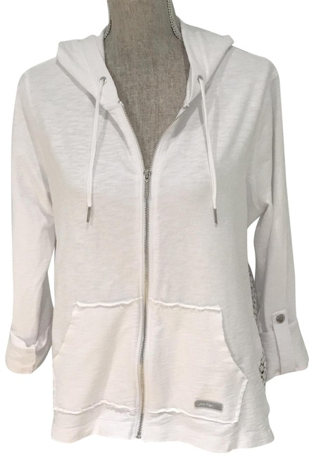 Item - White New Cotton Hoodie with Lace-embellished Jacket Activewear Size 12 (L)
