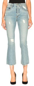 ADAPTATION Kick Flare Distressed Capri/Cropped Denim-Light Wash