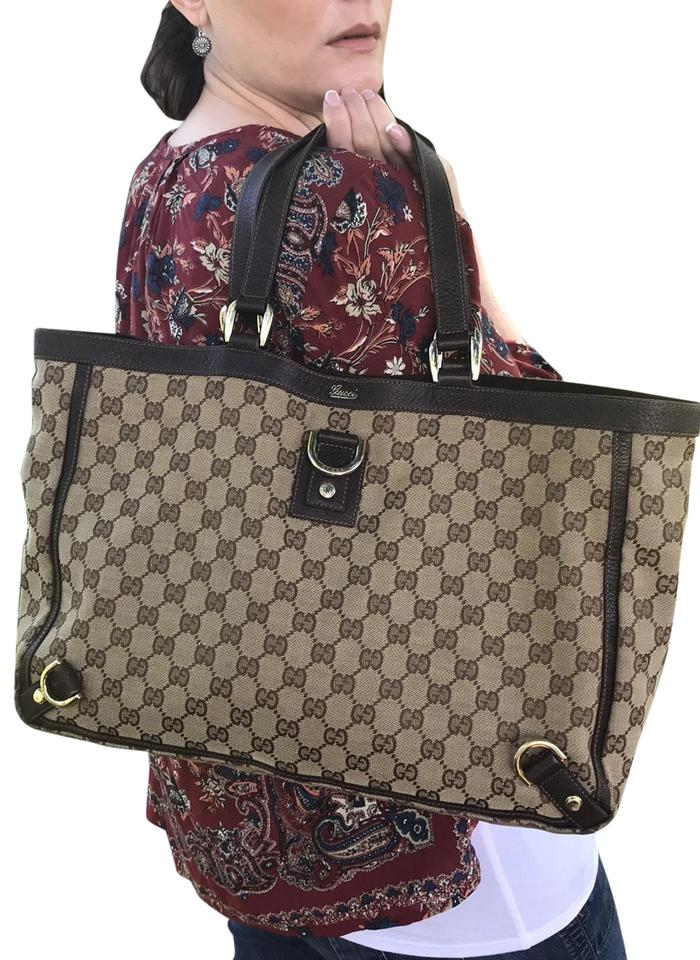 25c2d54496b51f Gucci Abbey Large Gg D Ring Leather Trim Brown Canvas Tote - Tradesy