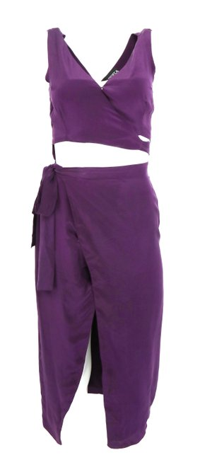 Item - Purple Wrap Mid-length Cocktail Dress Size 2 (XS)