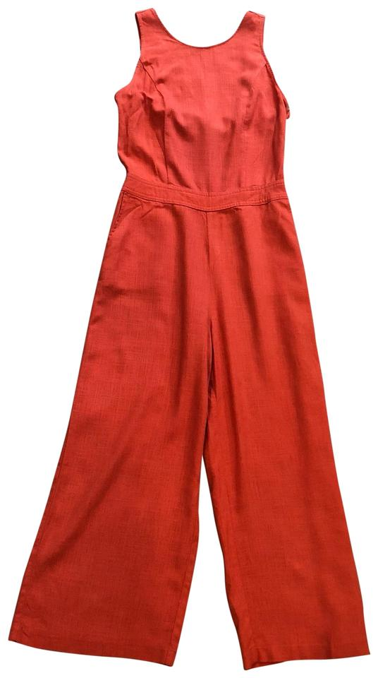 e563a34fb23f Abercrombie   Fitch Orange High Neck with Tie Back Romper Jumpsuit ...