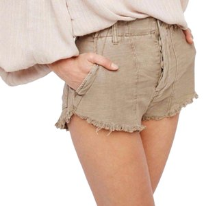 Free People Cotton Cut Off Shorts Beige
