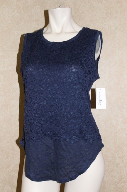 Maison Jules Lace Layered-look Top Blue Image 2