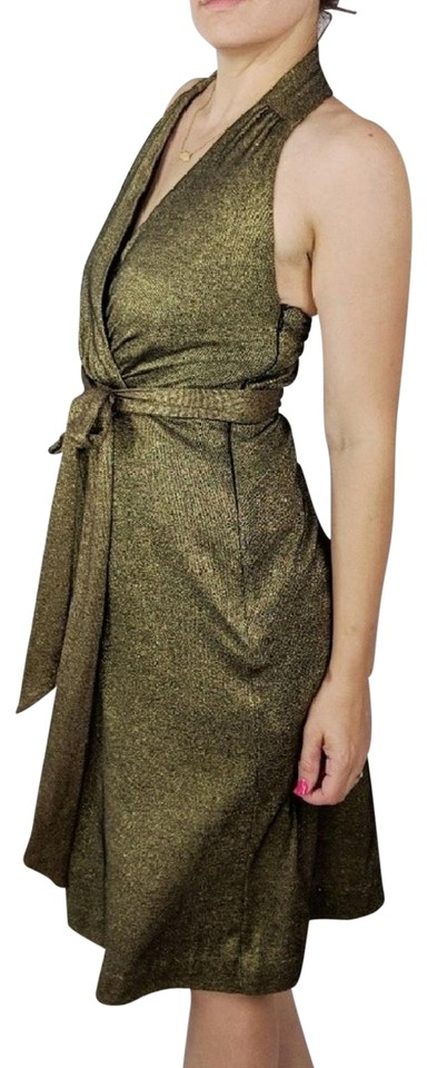 a2259ae7c90 Milly of New York Gold Knit Halter Neck Tie Belt Mid-length Cocktail ...