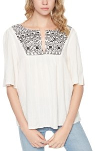 Sanctuary Zambia Embroidered Short Sleeves Top Ivory