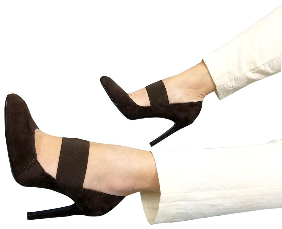 Giorgio Armani Brown New Jane Women Suede Leather Mary Jane New Classic High Heel Pumps 438195