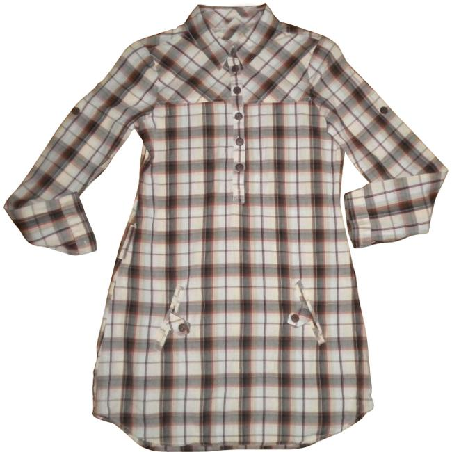 Love Notes Plaid Long Sleeve Button Chest Shirt Tunic Image 0