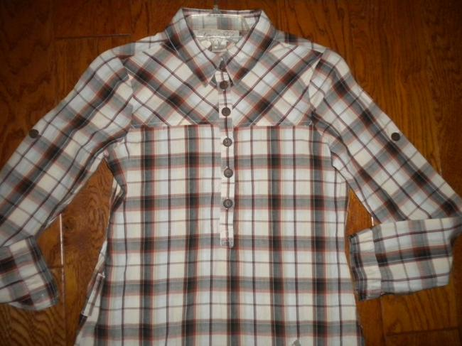 Love Notes Plaid Long Sleeve Button Chest Shirt Tunic Image 1