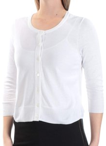 Maison Jules Contrast Back 3/4 Sleeves Cardigan Button Down Shirt White