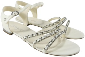 Chanel Runway Logo Chain Chain Ivory, white, silver Sandals