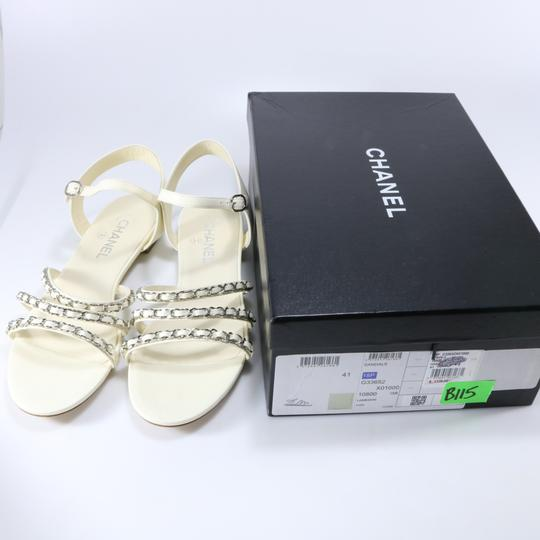 Chanel Runway Logo Chain Chain Ivory, white, silver Sandals Image 1