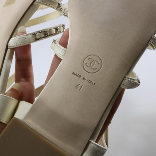 Chanel Runway Logo Chain Chain Ivory, white, silver Sandals Image 11
