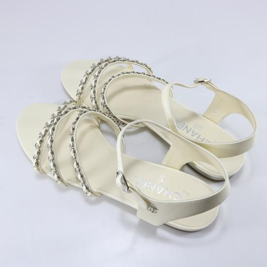 Chanel Runway Logo Chain Chain Ivory, white, silver Sandals Image 4