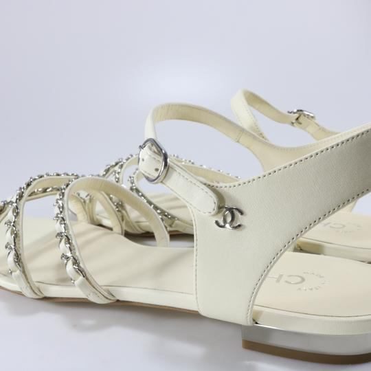 Chanel Runway Logo Chain Chain Ivory, white, silver Sandals Image 6