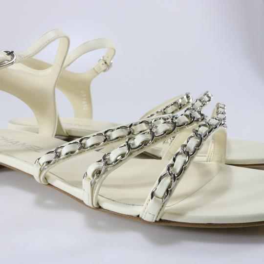 Chanel Runway Logo Chain Chain Ivory, white, silver Sandals Image 7