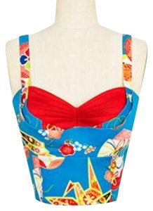 Trashy Diva Retro Corset 50s Lena Crop Top Blue