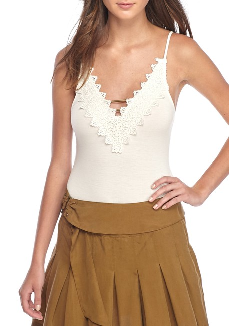 Free People Gia Bodysuit V-neck Viscose Top Ivory Image 1