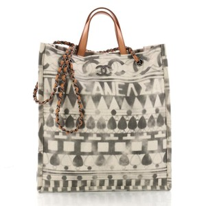 Chanel Deauville Shopping Iliad Printed Tote in Grey and Beige / Off White