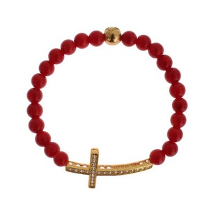 Nialaya D19013-1 Women's Red Coral Gold Cz Cross 925 Silver Bracelet (Small)