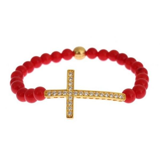 Nialaya D19013-1 Women's Red Coral Gold Cz Cross 925 Silver Bracelet (Small) Image 1