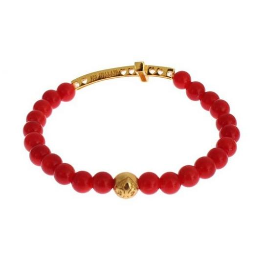 Nialaya D19013-1 Women's Red Coral Gold Cz Cross 925 Silver Bracelet (Small) Image 3