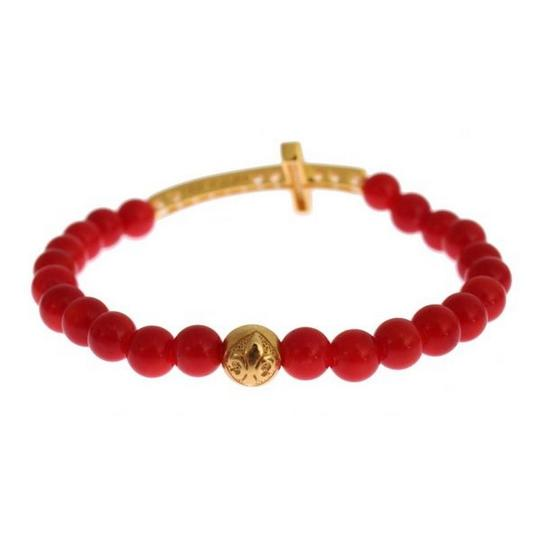 Nialaya D19013-1 Women's Red Coral Gold Cz Cross 925 Silver Bracelet (Small) Image 4