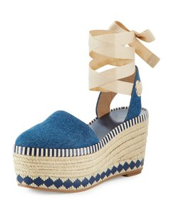 Tory Burch Espadrille Platform Dandy Denim Wedges