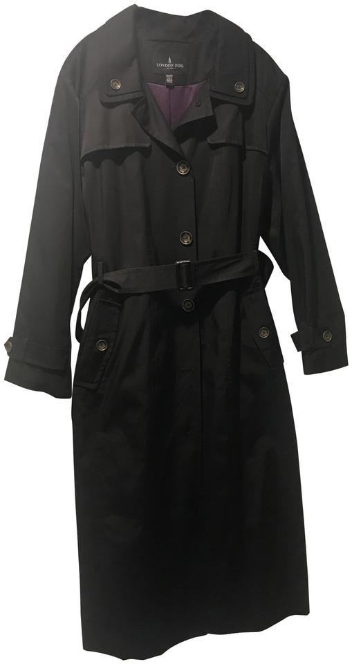 cfe523c038a London Fog Black Belted Maxi Coat Size 20 (Plus 1x) - Tradesy