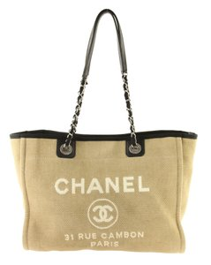 Chanel Denim Classic Beach Tote in Brown