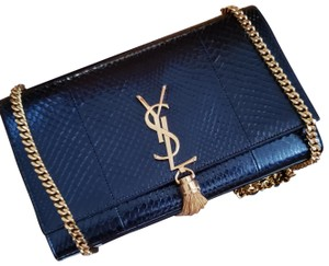Saint Laurent Monogram Ayers Snakeskin Leather Yves Shoulder Bag