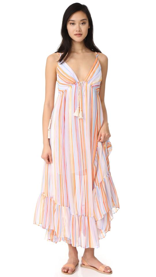 32ba0cd83a5 Free People Rainbow These Days Striped Long Casual Maxi Dress Size 6 ...