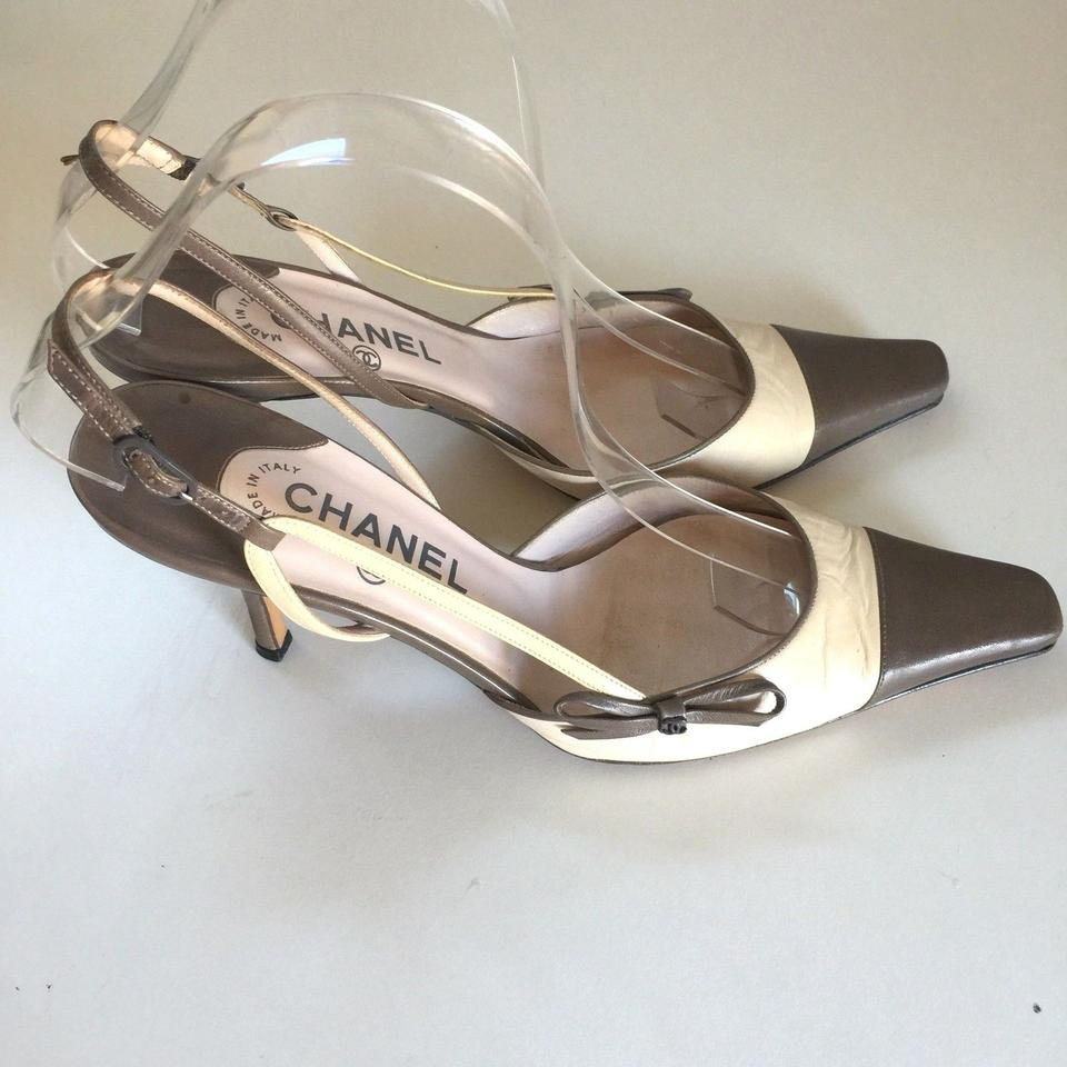 076eff897d8 Chanel Cap Toe Pointed Bow Slingback brown Pumps Image 11. 123456789101112