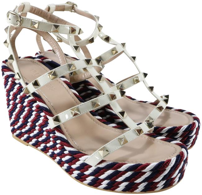 Item - Red White Blue Ivory Gold Nautical Cage Rockstud Spike Espadrille B123 Wedges Size EU 38 (Approx. US 8) Regular (M, B)