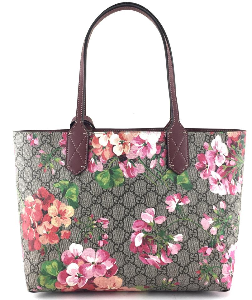 2dabac8ac89 Gucci  22322 Rare Small Reversible Gg Guccissima Blooms Tote Multicolors  Pink Canvas and Leather Shoulder Bag