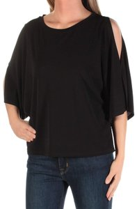 Rachel Roy Out Jewel Neck Short Sleeve Top Black