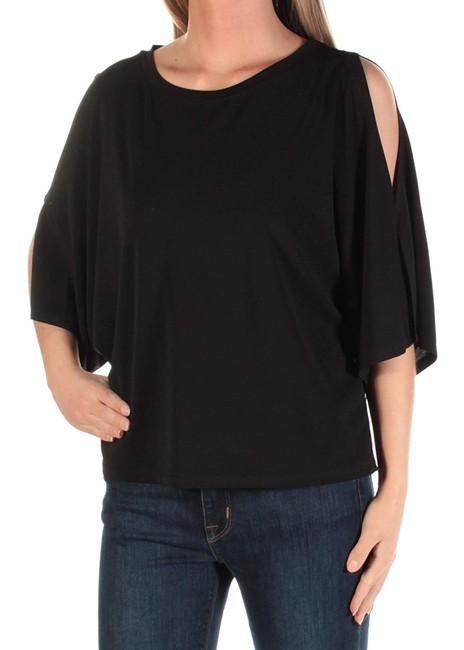 Rachel Roy Out Jewel Neck Short Sleeve Top Black Image 2