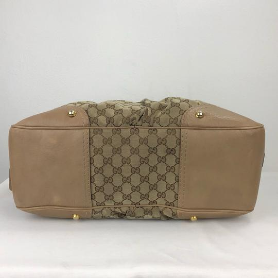 687293a86c67 Gucci Horsebit Tan Leather Large Signature Pleated Brown Canvas ...